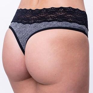 Calcinha Sexy Fio em Cotton com Detalhe Cós em Renda Larga Conforto F52.B