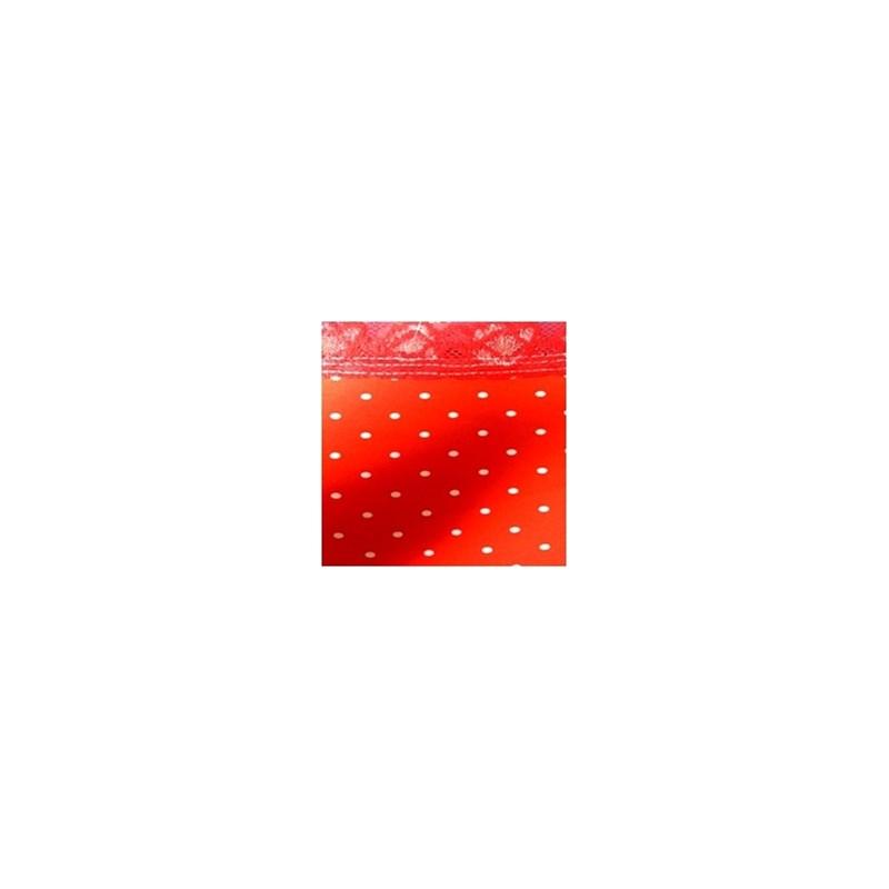 Calçola em microfibra estampada com cós em renda elástica A26.A VERMELHO VARIADO