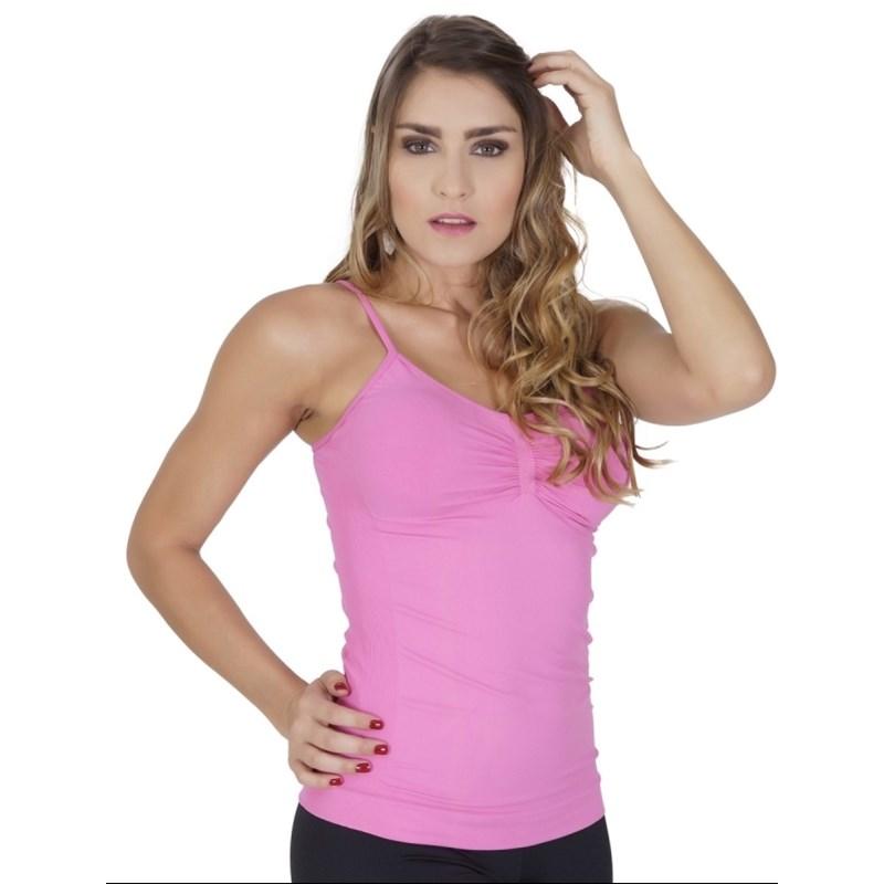Camiseta modeladora conforto sem costura em microfibra lisa com drapeado P36 ROSA PINK