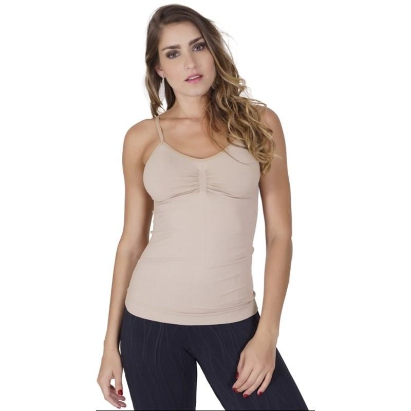 Camiseta modeladora conforto sem costura em microfibra lisa com drapeado P36 CHOCOLATE CLARO