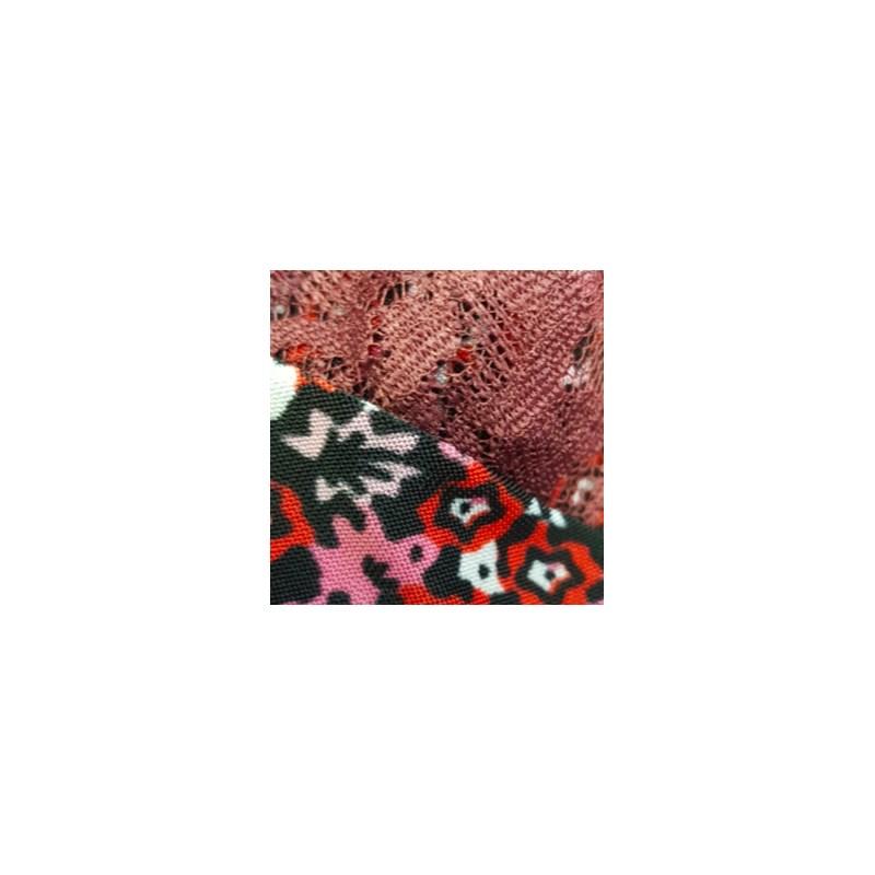 Camisola em Microfibra com Detalhe em Renda e Laço O08.C VINHO FLORES