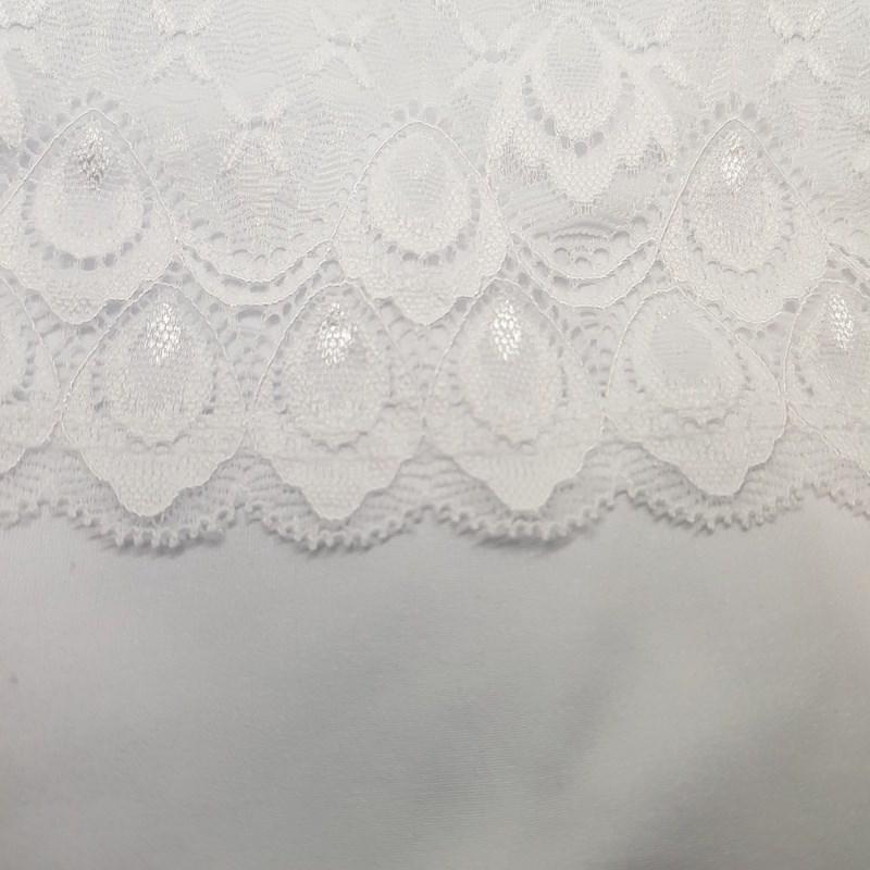 Camisola em Microfibra e Renda com Detalhe de Laço O49.C BRANCO