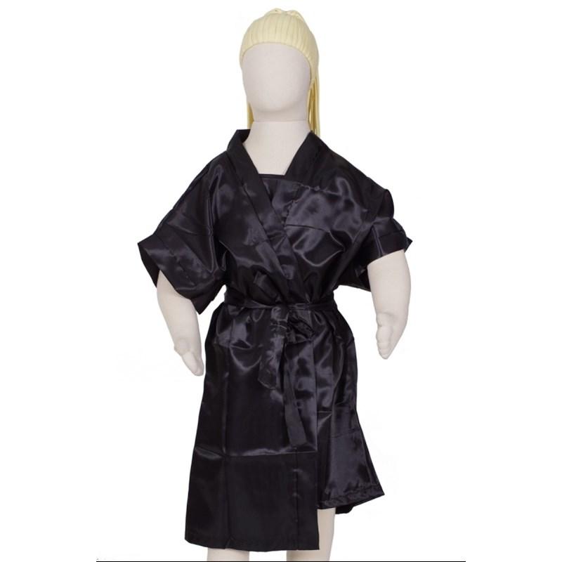 Camisola infantil com alças reguláveis com robe em cetim liso R45 PRETO