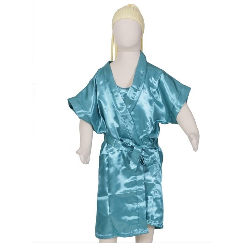 Camisola infantil com alças reguláveis com robe em cetim liso R45 VERDE ÁGUA