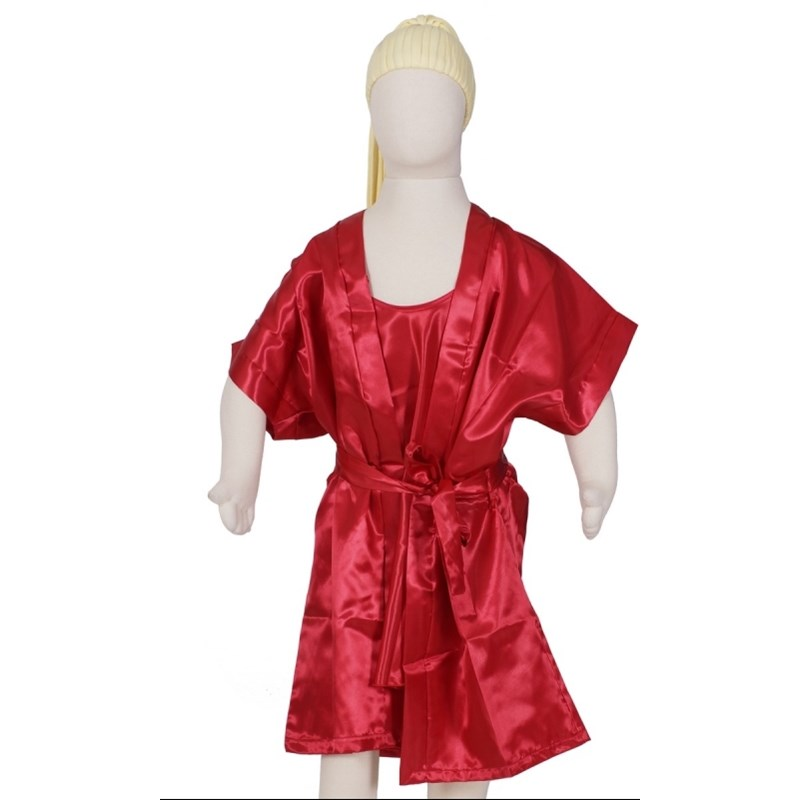 Camisola infantil com alças reguláveis com robe em cetim liso R45 VERMELHO