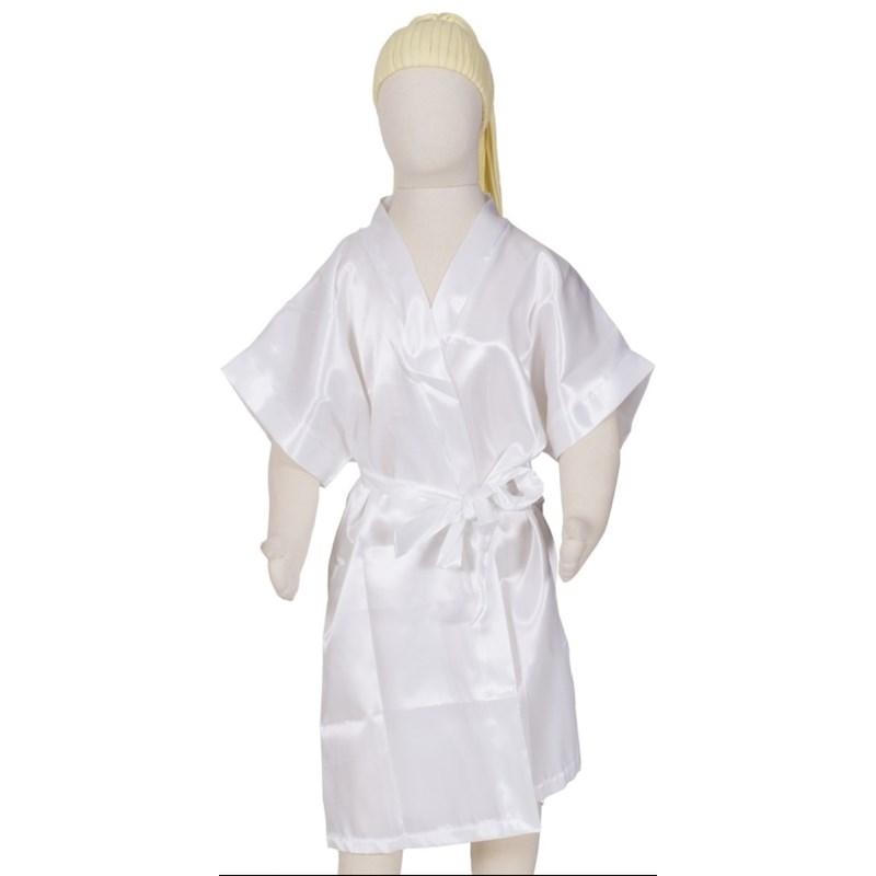 Camisola infantil com alças reguláveis com robe em cetim liso R45 BRANCO