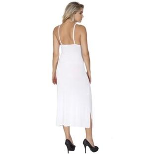 Camisola longa luxo sem bojo em microfibra lisa com renda O105.A