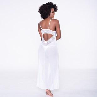 Camisola Luxo com Bojo em Tule com Detalhes em Renda e Bijuteria Acompanha Calcinha Sexy O81