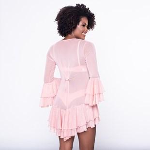 Camisola Luxo Tipo Robe em Tule com Detalhes de Renda e Babado com Bijuteria O98