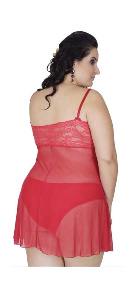 Camisola plus size sem bojo em tule liso com renda e lacinho AA33.B