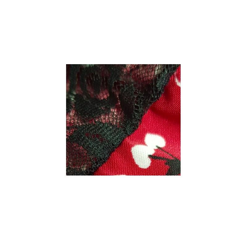 Camisola sem Bojo em Microfibra Estampada com Detalhes em Renda e Laço O29.C VERMELHO VARIADO