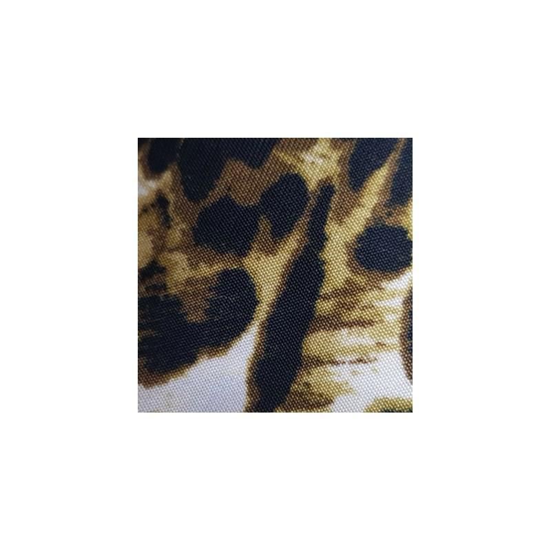 Camisola sem Bojo em Microfibra Estampada com Detalhes em Renda e Laço O29.C CREME ONÇA