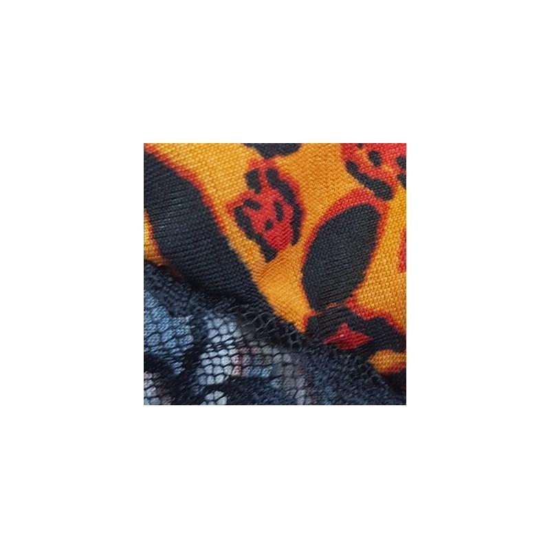 Camisola sem Bojo em Microfibra Estampada com Detalhes em Renda e Laço O29.C MARROM ONÇA