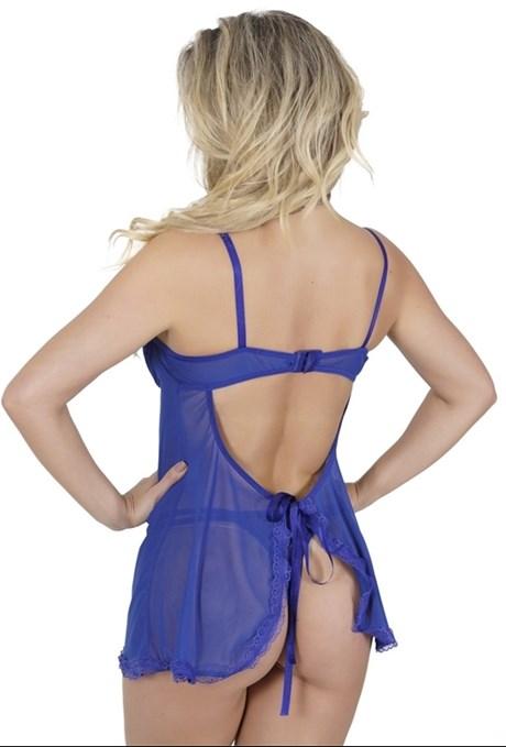 Camisola sexy em tule liso com renda e lacinho O78.A