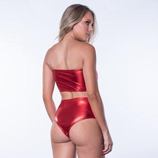 Conjunto Carnaval Tecido Brilho Calcinha Hot Pant Sutiã Bustiê U19.A