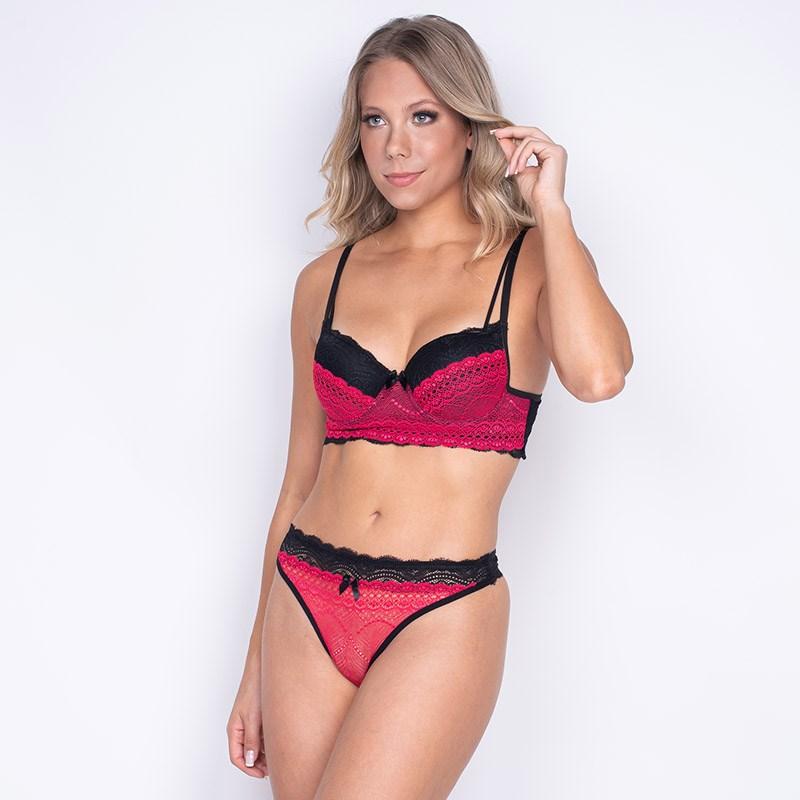 Conjunto com Bojo Coleção Luxo Todo Rendado Sutiã Base Larga Conforto Calcinha Sexy K76.E PRETO COM ROSA
