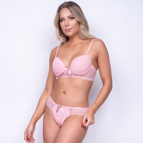 Conjunto com Bojo em Microfibra e Renda Calcinha Sexy Sutiã Cós Largo K48.E