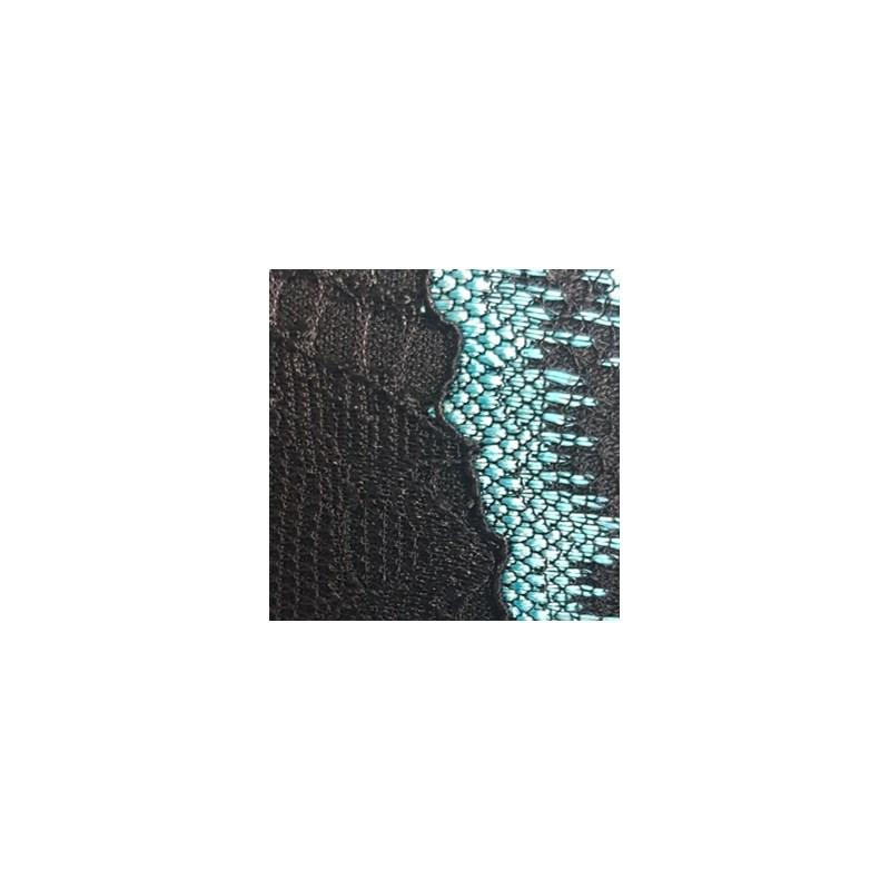Conjunto com Bojo em Microfibra e Renda Top Cropped Calcinha Fio Duplo K43.C PRETO COM AZUL CLARO
