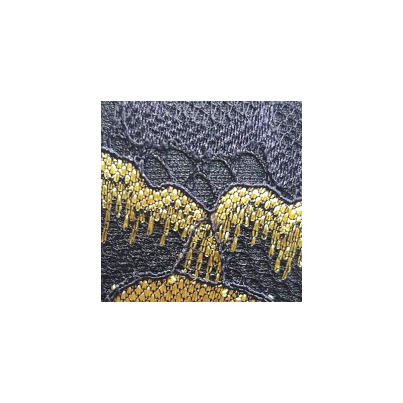 Conjunto com Bojo em Microfibra e Renda Top Cropped Calcinha Fio Duplo K43.C PRETO COM AMARELO