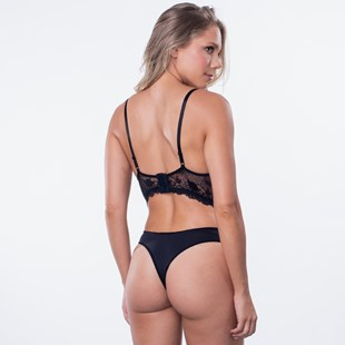 Conjunto com Bojo em Renda Sutiã Cropped Calcinha Sexy Detalhe em Laço K124