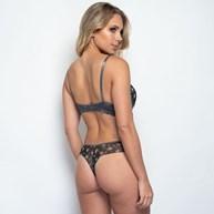 Conjunto em Tulle com Detalhes em Renda Calcinha Super Sexy K74.C