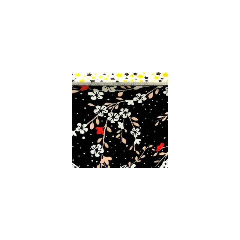 Conjunto infantil em microfibra estampada e elástico exposto H18.A PRETO VARIADO