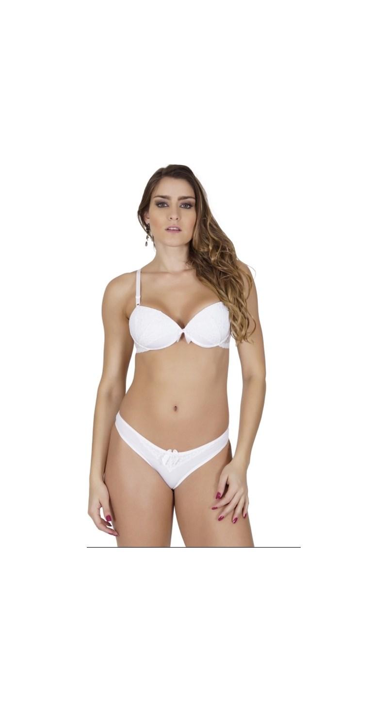 Conjunto lingerie básico em microfibra lisa e renda com lacinho K204 BRANCO