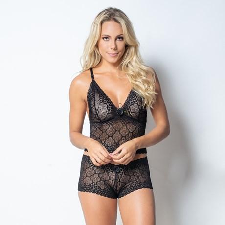 Conjunto lingerie caleçon cropped em renda com laço em cetim U04