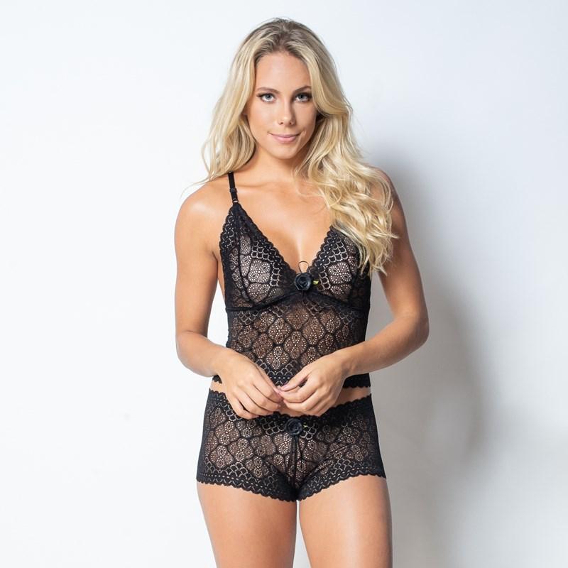 Conjunto lingerie caleçon cropped em renda com laço em cetim U04 PRETO