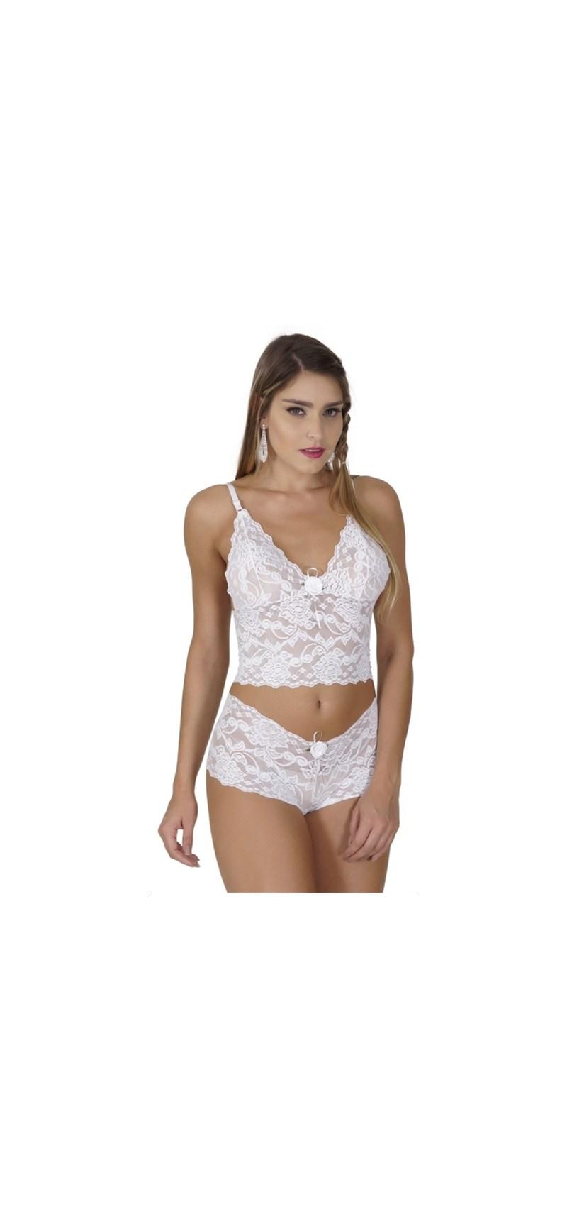 Conjunto lingerie caleçon cropped em renda com laço em cetim U04 BRANCO