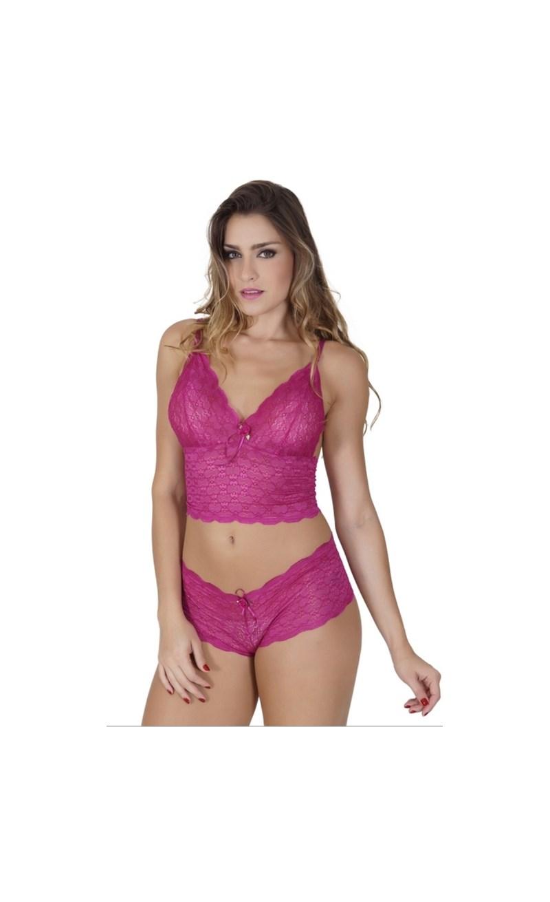 Conjunto lingerie caleçon cropped em renda com laço em cetim U04 GROSELHA