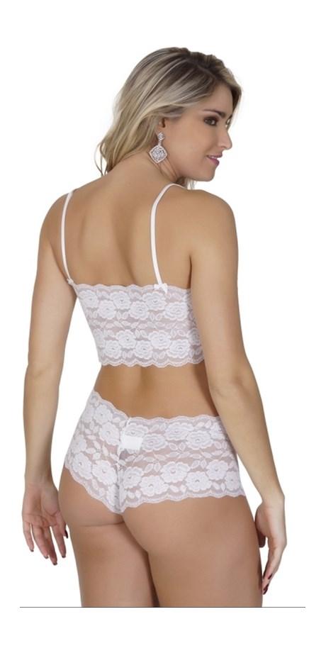 Conjunto lingerie caleçon drapeado sem bojo em renda com lacinhos U02.A