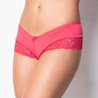 Conjunto lingerie caleçon em microfibra com renda e fita em cetim K04 ROSA