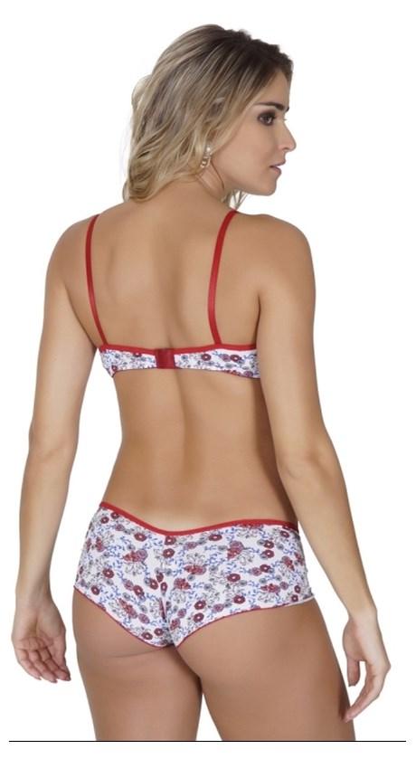 Conjunto lingerie caleçon em microfibra estampada e fita em cetim K78.A