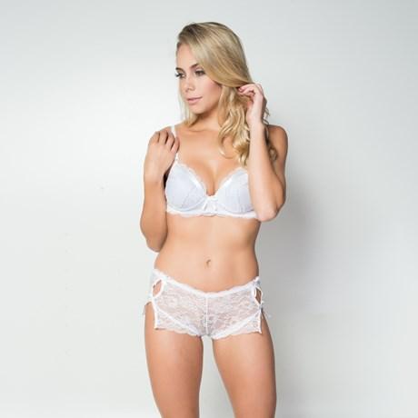 Conjunto lingerie caleçon em renda com detalhe em fita em cetim K134.DD