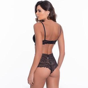 Conjunto lingerie caleçon em renda com lacinho em cetim K101.B