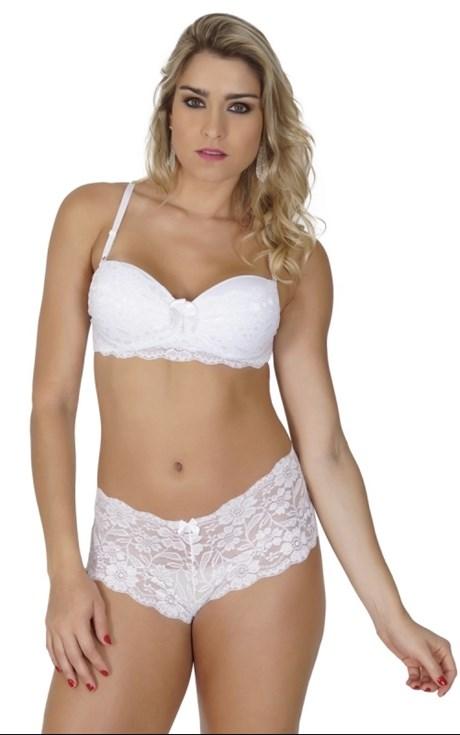 Conjunto lingerie caleçon em renda com lacinho em cetim K21.D