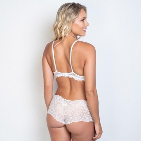 Conjunto lingerie caleçon em renda trabalhada com lacinho em cetim K178.D