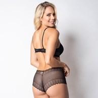 Conjunto lingerie caleçon em renda trabalhada com lacinhos em cetim K266