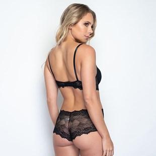 Conjunto lingerie caleçon em renda trabalhada com lacinhos K259