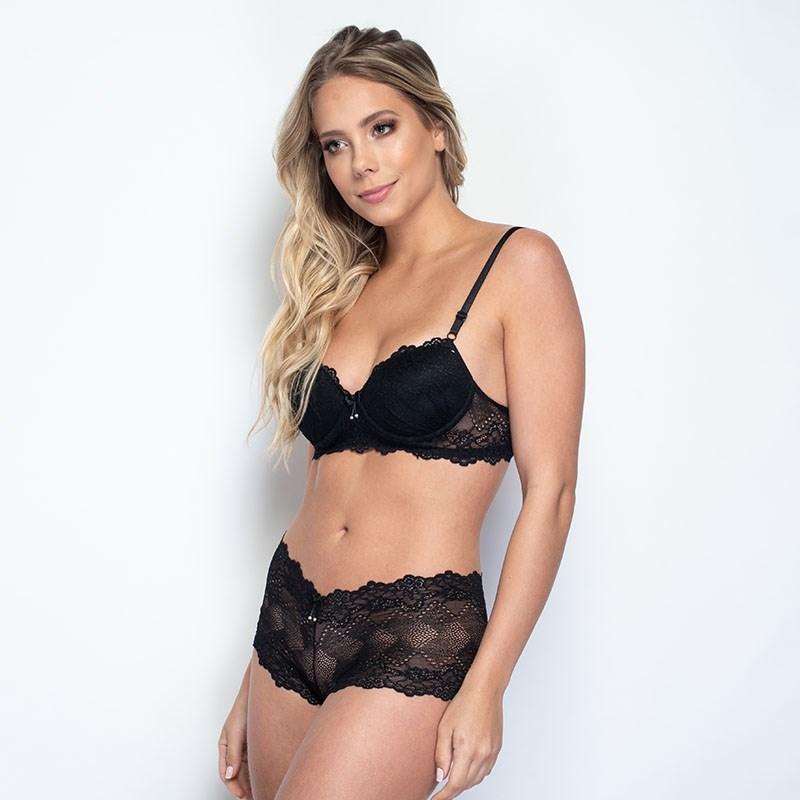 Conjunto lingerie caleçon em renda trabalhada com lacinhos K259 PRETO