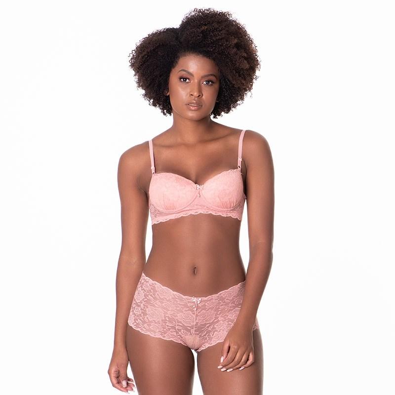 Conjunto lingerie caleçon em renda trabalhada com lacinhos K259 GOIABA