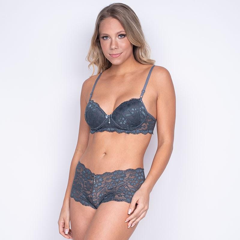 Conjunto lingerie caleçon em renda trabalhada com lacinhos K259 GRAFITE