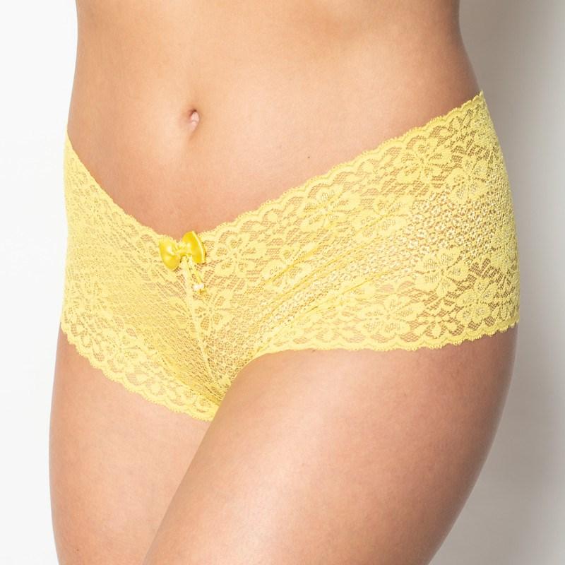 Conjunto lingerie caleçon em renda trabalhada com lacinhos K259 AMARELO