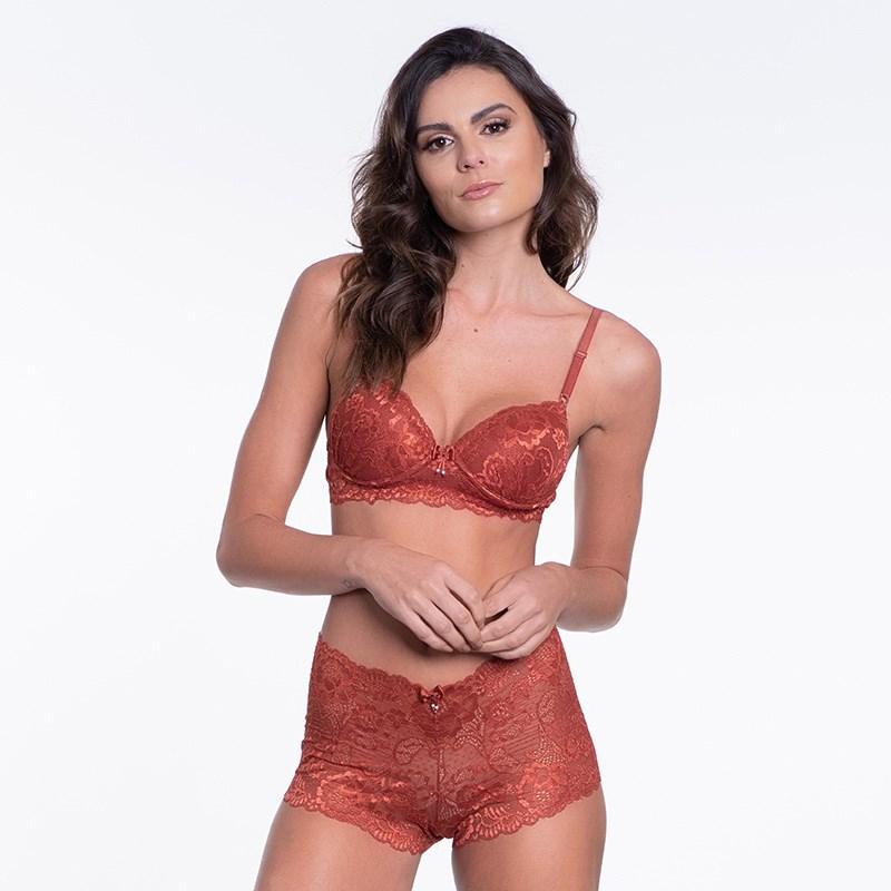 Conjunto lingerie caleçon em renda trabalhada com lacinhos K259 VINHO