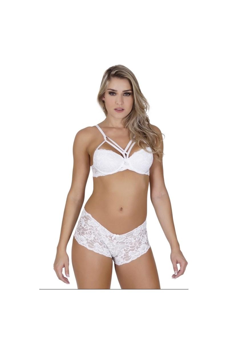 Conjunto lingerie caleçon strappy bra em renda K222.B BRANCO