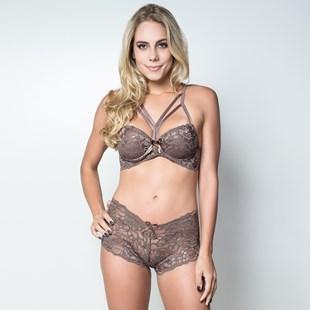 Conjunto lingerie caleçon strappy bra em renda K222.B MARROM