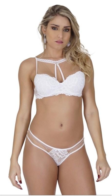 Conjunto lingerie coleção luxo em renda com tule e pingente K209.C