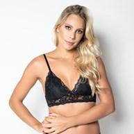 Conjunto lingerie coleção luxo sem bojo em renda com microfibra lisa U17
