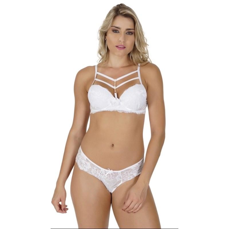 Conjunto lingerie coleção luxo strappy bra em renda com bijuteria K130.C 7736de609d0